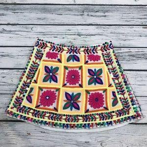 Pia Pauro Embroidered Mini Skirt